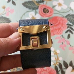 Blue leather envelope cuff bracelet